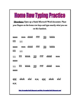 Home Row Typing Practice