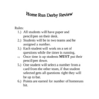 Home Run Derby Math Review