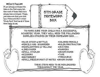 Homework Box Upper Elementary