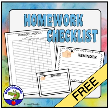 Homework Checklist for Middle School or High School