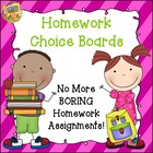 Homework Choice Boards - No More Boring Homework Assignmen