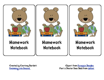 Homework Notebook labels
