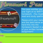 Homework Pass Award Template