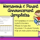 Homework and Parent Announcement Templates - Back to Schoo