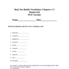 Homework and tests for Vocabulary for Bud Not Buddy