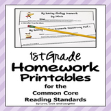 Homework for Common Core Reading Standards for First Grade
