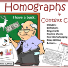 Homographs & Context Clues: Bingo, Visual Game, Writing, &
