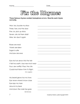 Homophone Worksheets #2 -  Six Pages + Answer Keys