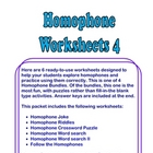 Homophone Worksheets #4 -  Six FUN Pages + Answer Keys
