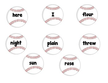Homophones - Baseball themed