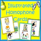 Homophones - Flash Cards with Illustrated Pairs and Triplets