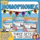 Homophones Task Cards: 3 Set Bundle (96 Cards Total) for CCS L.5