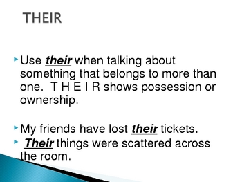 Homophones (their, there, and they're)