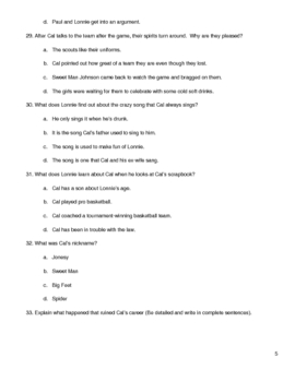Hoops by Walter Dean Myers Quiz Chapters 1-3