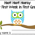 Hoot Hoot Hooray My First Week in First Grade Owl