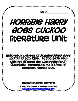 Horrible Harry Goes Cuckoo Literature Unit