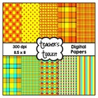 Hot Summer Sun Digital Background Papers {8.5 x 11}  Comme