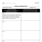 House on Mango Street Chapters 7-15 Worksheets (week 2)