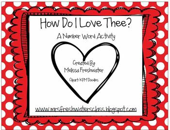 How Do I Love Thee- Number Word Activity