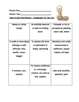 """How To Eat Fried Worms"" Vocabulary Study & Assessment"