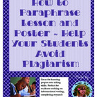 """""""How to Paraphrase"""" Poster ~ Help Students Avoid Plagiarism"""