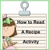 Kids Cooking-How to Read a Recipe Activity