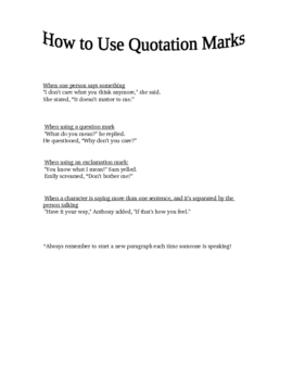 How to use quotation marks lesson for students.