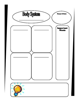 Human Body Systems Graphic Organizer for Note Taking