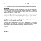 Human Circulatory System - Blood Cells Laboratory Lesson Plan