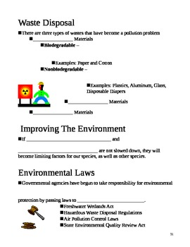 Humans and Environment Ecology Notes Outline Lesson Plan