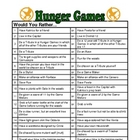 """Hunger Games"" FREE Would You Rather Questions"