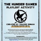 """Hunger Games"" Trilogy Playlist Soundtrack Activity Handout"