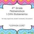 I CAN Statements: 4th grade math common core (ice cream co