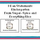 I Can Statements Science and Social Studies Kindergarten