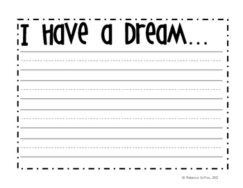 I Have A Dream Writing Paper-freebie