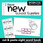 "Interactive Sight Word Reader ""I Have New School Supplies"""