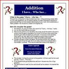 I Have, Who Has Addition Math Facts Review Activity Common Core