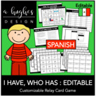 I Have, Who Has Card Game: Spanish (Customize and Print)