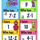 I Have Who Has Game? (-1, -2) Subtraction Facts