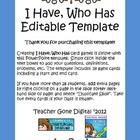 I Have Who Has Generic Card Game Template (Editable PowerPoint)