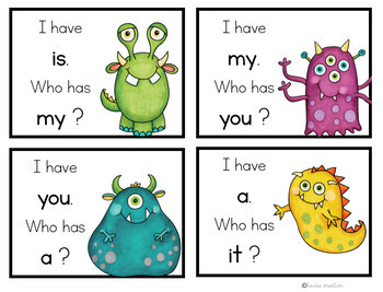 I Have, Who Has-Monster Sight Words