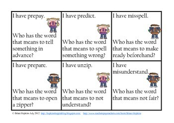I Have Who Has Prefixes - Common Core