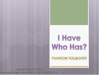 I Have Who Has Review Card Game Phantom Tollbooth
