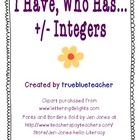 I Have, Who Has...Adding & Subtracting Integers