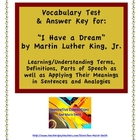 """I Have a Dream""  Vocabulary Test with Key"