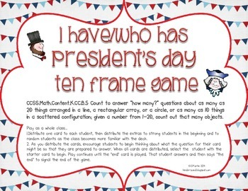 I Have/Who Has {Ten Frames and Number Rec President's Day