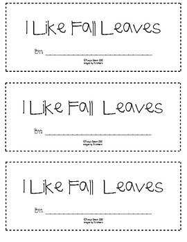 I Like Fall Leaves mini book