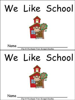 I Like School Kindergarten Emergent Reader- Color and Blac