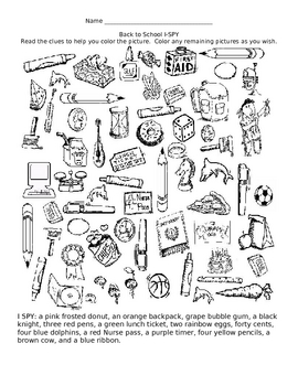 I-Spy Back to School Coloring Activity