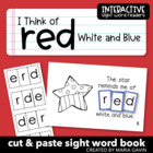 """Interactive Sight Word Reader """"I Think of Red White and Blue"""""""